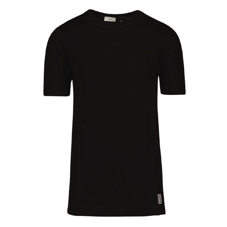 H&H Men's 100% Merino Wool Short Sleeve Thermal Top, Black, hi-res