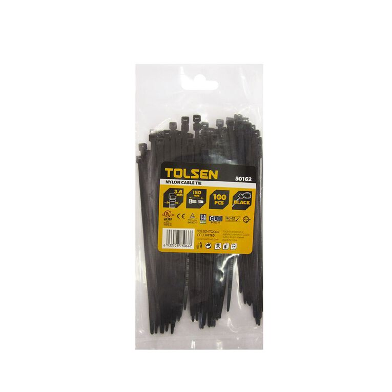 Tolsen Cable Tie 150mm x 3.6mm Black 100 Pack, , hi-res