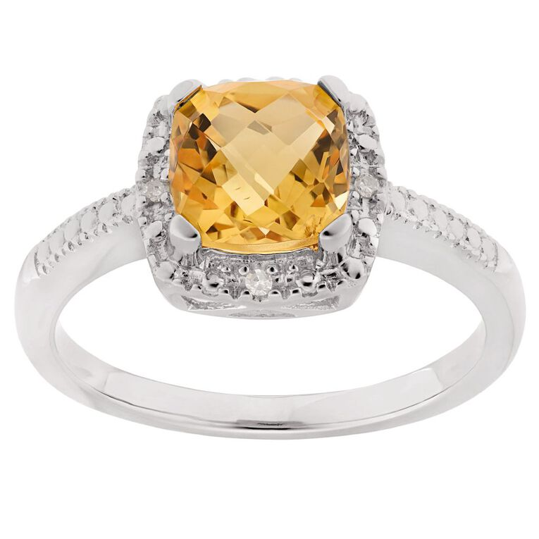 0.02 Carat Diamond Sterling Silver Citrine Halo Ring, Sterling Silver, hi-res