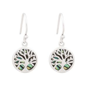 Sterling Silver Plated Paua Tree of Life Earrings