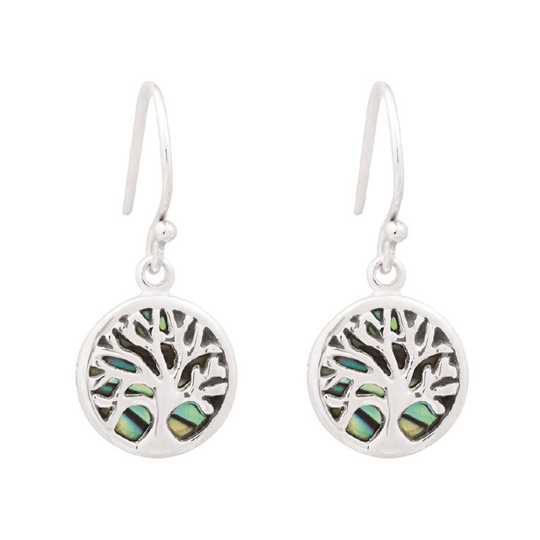 Sterling Silver Plated Paua Tree of Life Earrings, , hi-res