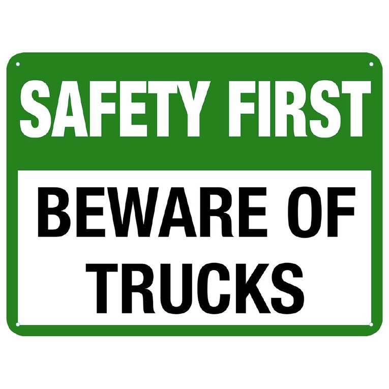 WS Safety First Beware of Trucks Sign Large 450mm x 600mm, , hi-res