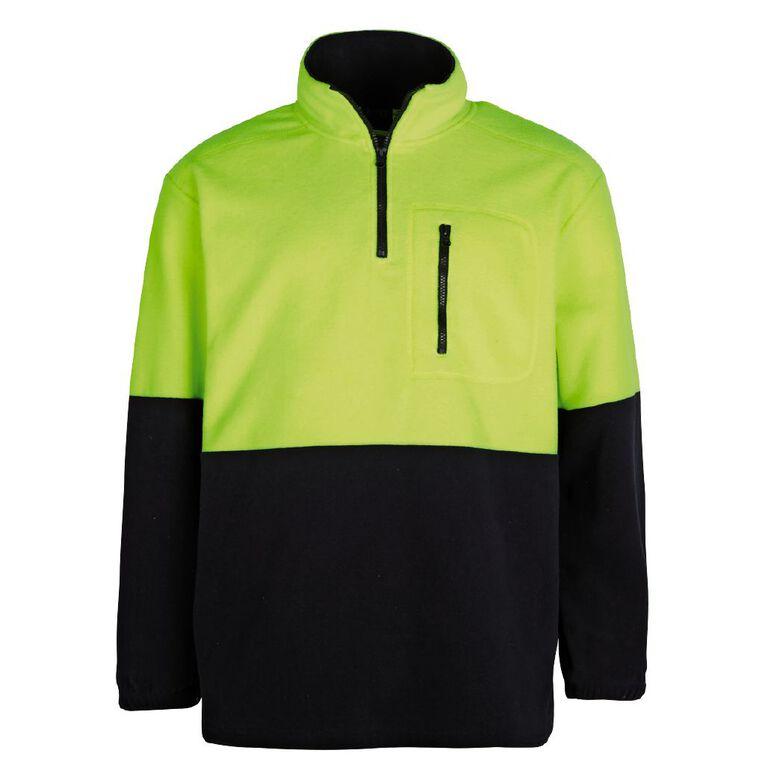 Rivet 1/4 Zip High Visibility Day Compliant Sweatshirt, Yellow, hi-res