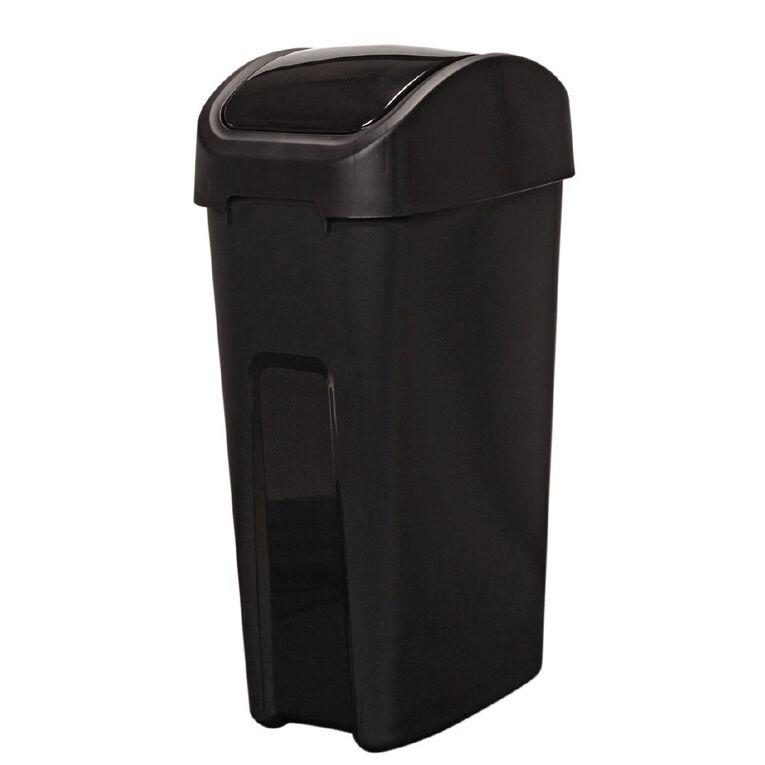 Living & Co Rubbish Bin Slim Line Flip Top Black 55L, , hi-res