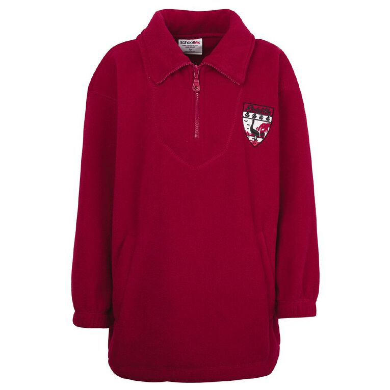 Schooltex Redcliffs Polar Fleece Top with Embroidery, Red, hi-res