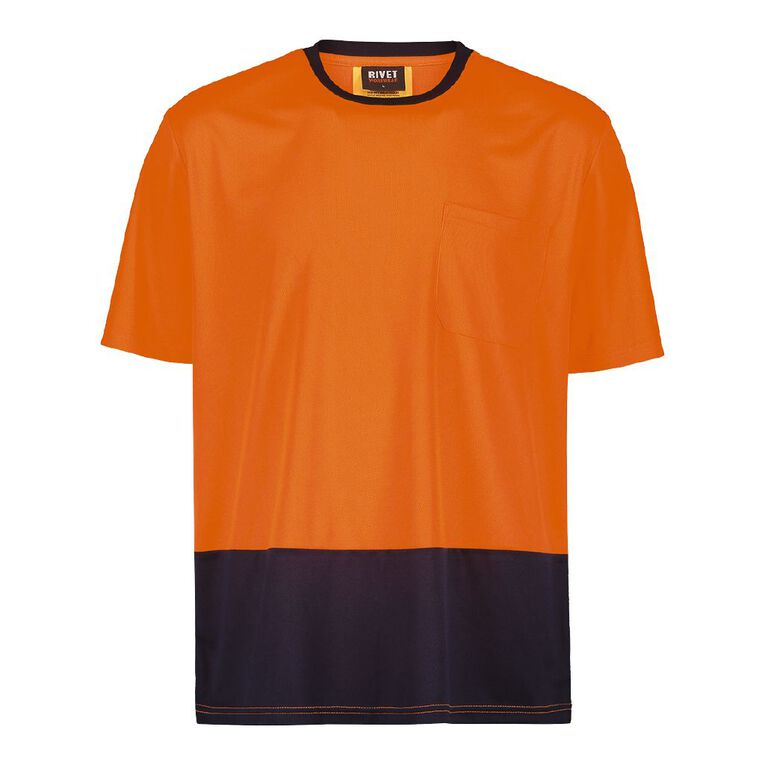 Rivet Compliant Short Sleeve Fluoro Tee, Orange, hi-res