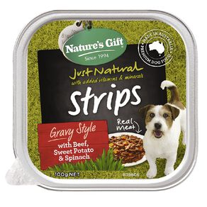 Nature's Gift Strips Gravy Beef Sweet Potato and Spinach 100g