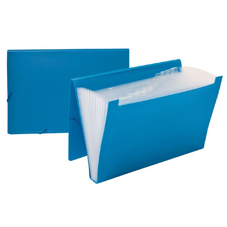 WS Foolscap Expanding File PP 12 Pocket Blue, , hi-res