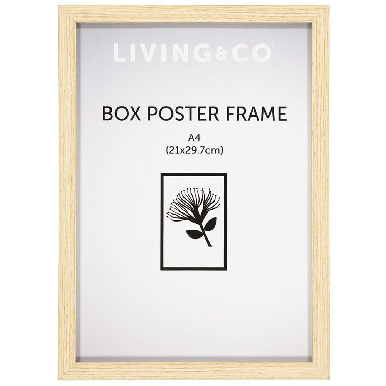 Living & Co Frame Box Poster Oak Wood Brown A4, Brown, hi-res