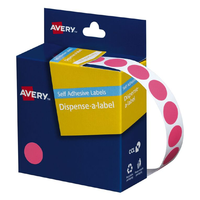 Avery Pink Dispenser Dot Stickers 14mm diameter 1050 Labels, , hi-res