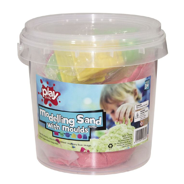 Play Studio Modelling Sand Tub with Moulds 600g Assorted, , hi-res