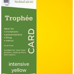 Trophee Card 160gsm 100 Pack Intensive Yellow A4