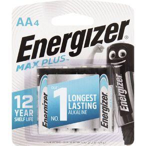 Energizer Max Plus Alkaline Batteries AA 4 Pack