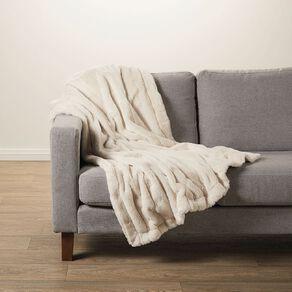 Living & Co Faux Fur Channel Throw Cream 120cm x 140cm