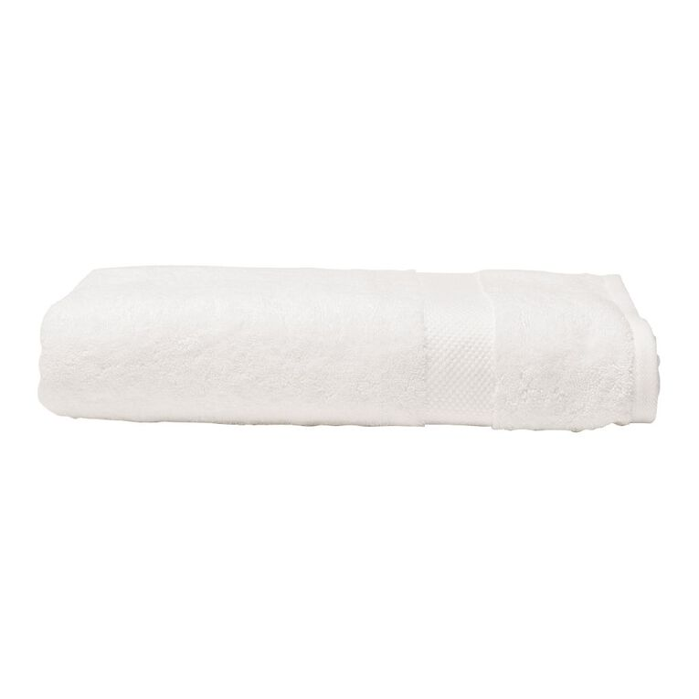 Living & Co Naturals Bath Towel Bamboo Blend White 68cm x 137cm, White, hi-res