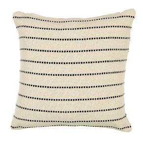 Living & Co Stitched Stripe Cotton Cushion Natural 50cm x 50cm