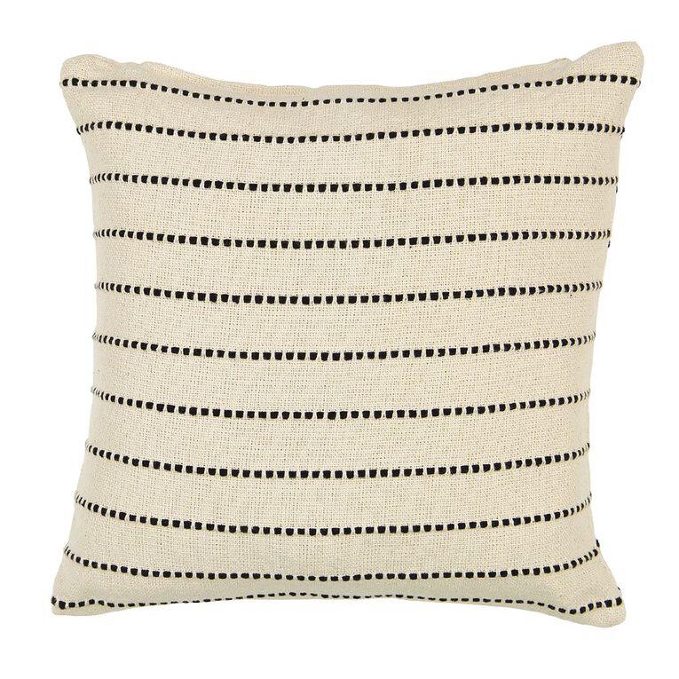 Living & Co Stitched Stripe Cotton Cushion Natural 50cm x 50cm, Natural, hi-res