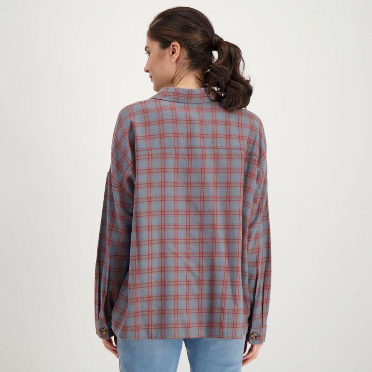 H&H Women's Pocket Flannel Shirt, Grey Dark, hi-res