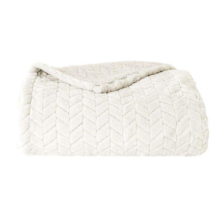 Living & Co Jacquard Plush Touch Throw Glacier Grey 127cm x 152cm, Grey, hi-res