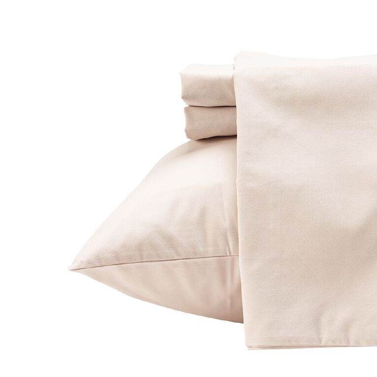 Living & Co Sheet Set Microfibre Taupe Double, Taupe, hi-res