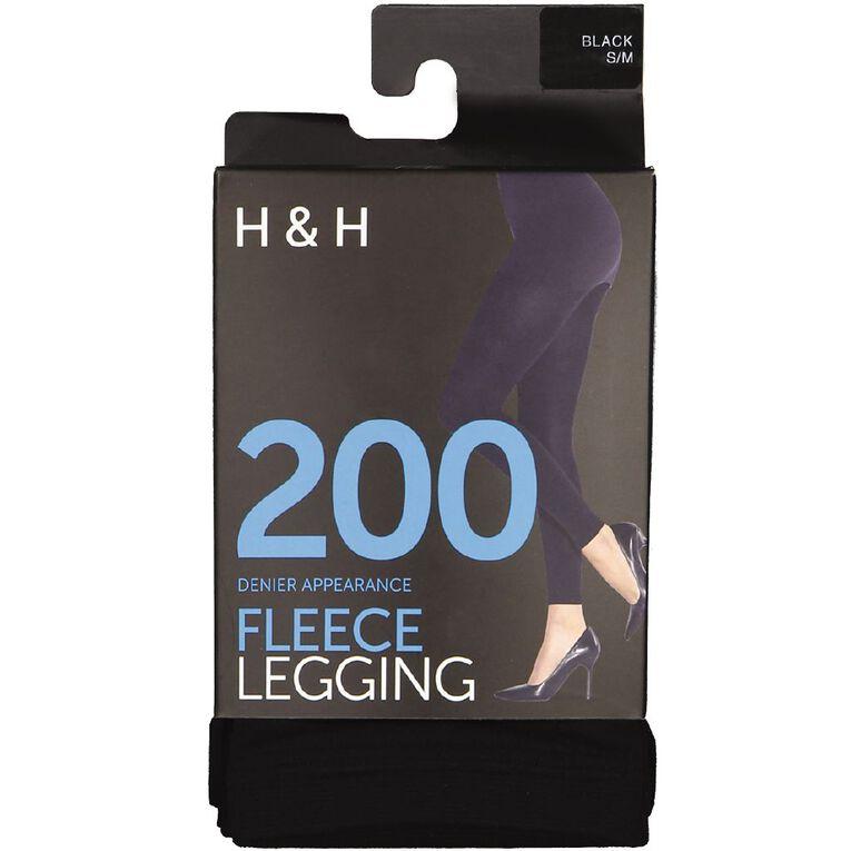 H&H Women's Opaque 200D Fleece Leggings, Black, hi-res