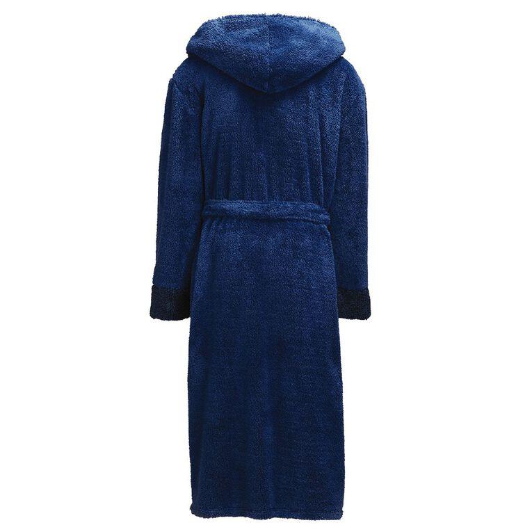 H&H Men's Shaggy Hooded Robe, Denim, hi-res
