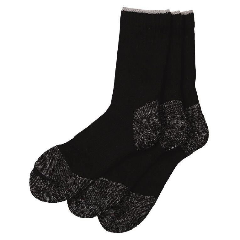 Rivet Men's Steelcap Work Socks 3 Pack, Black, hi-res