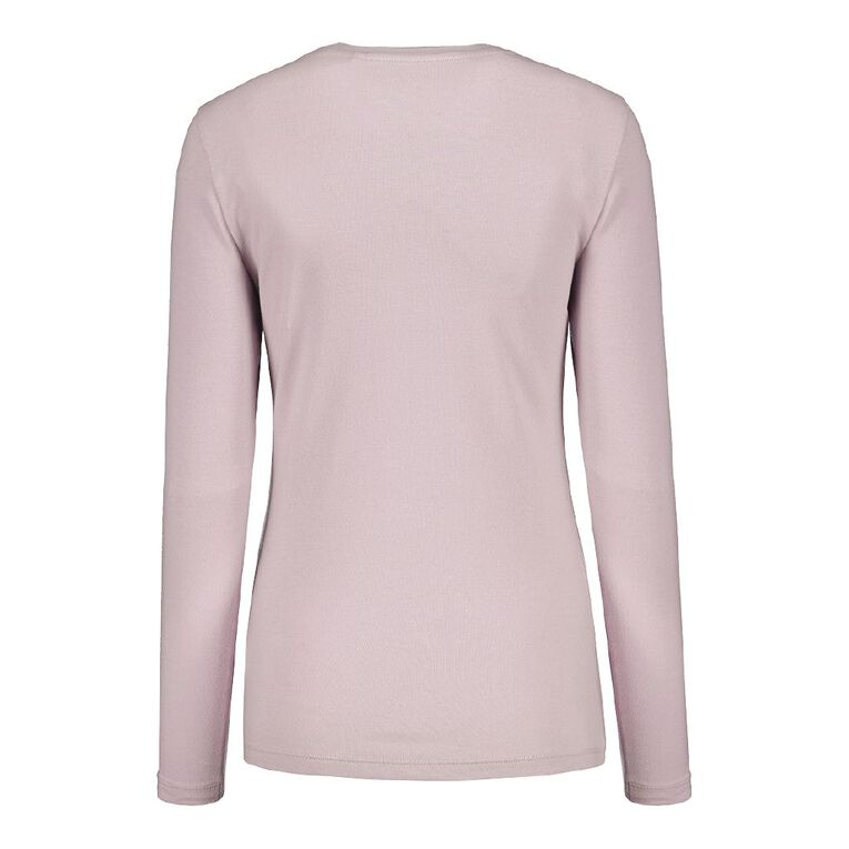 H&H Long Sleeve Scoop Neck Top, Lilac, hi-res