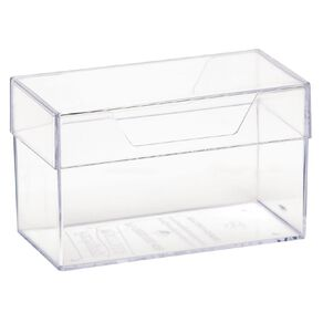 Deflecto Business Card Box with Lid Clear