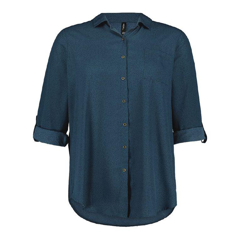 H&H Plus Women's Chiffon Shirt, Green Dark, hi-res