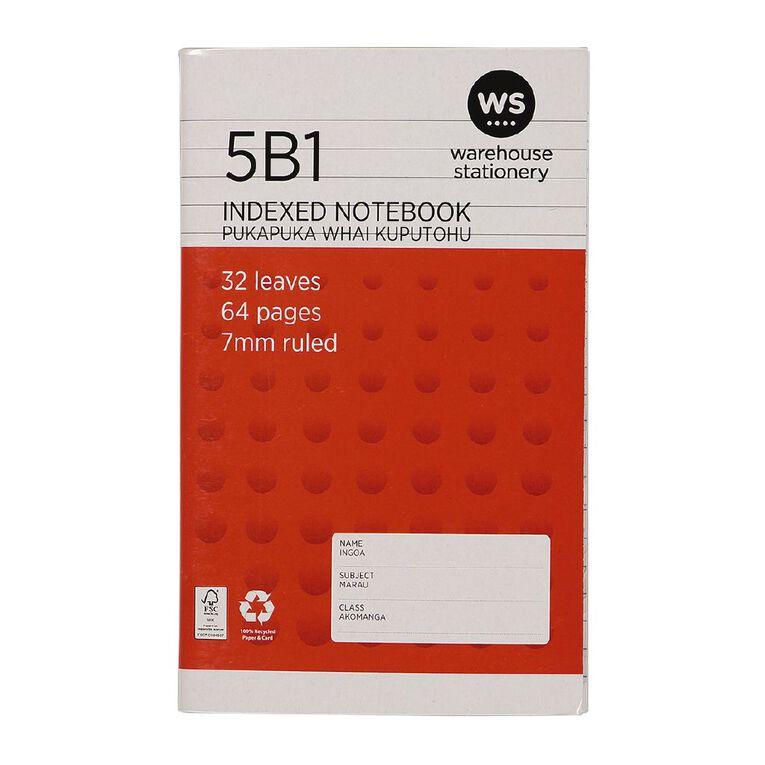 WS Notebook 5B1 Index 7mm 32 Leaf Red, , hi-res