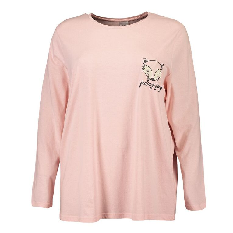 H&H Cosy Curvy Women's Long Sleeve Knit Sleep Tee, Pink, hi-res