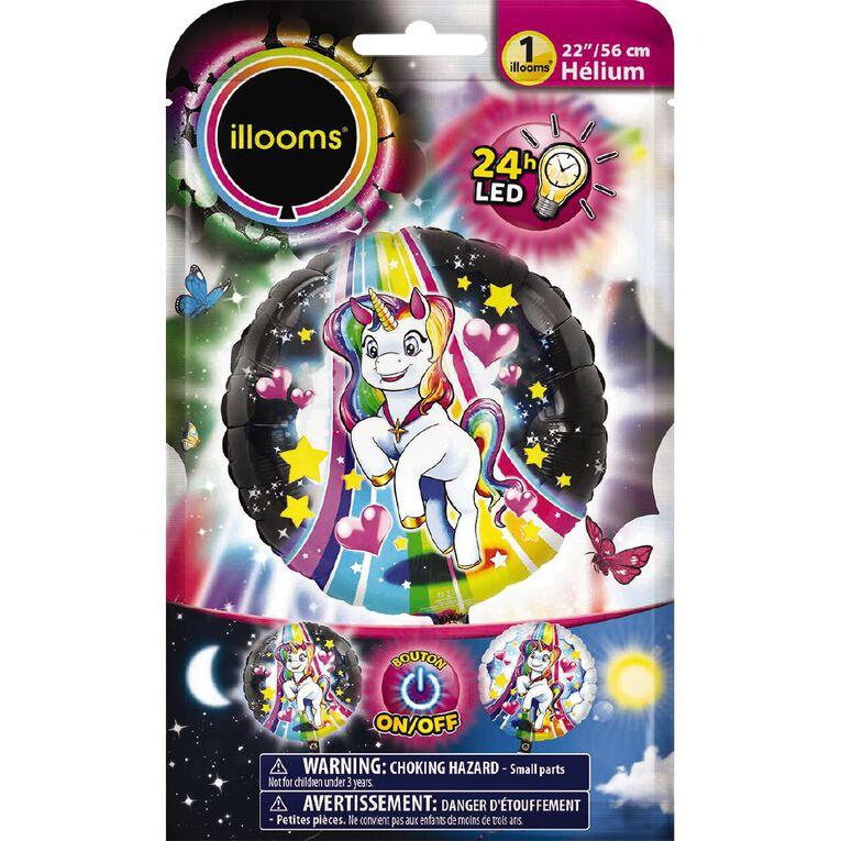 Illooms Light Up Foil Balloon Unicorn 56cm, , hi-res
