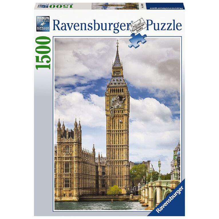 Ravensburger Funny Cat on Big Ben 1500 Piece Puzzle, , hi-res image number null