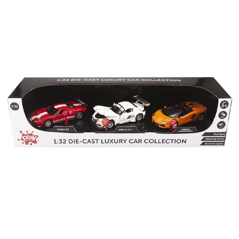 Play Studio Die-cast Pull Back Car With Light And Sound 3 Set Assorted, , hi-res
