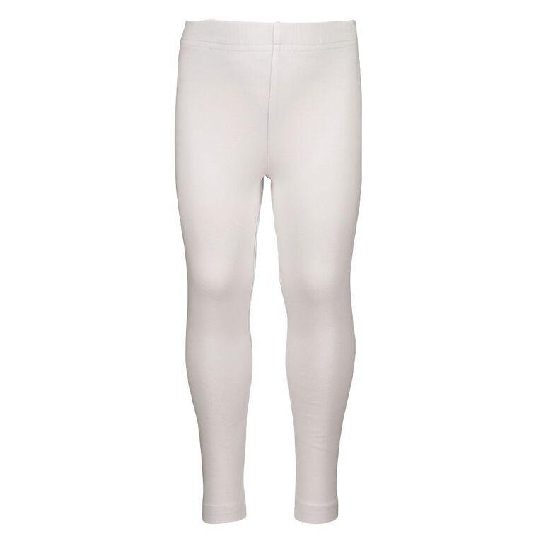 Young Original Girls' Plain Coloured Leggings, White, hi-res image number null