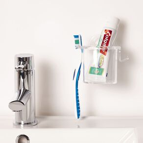 Living & Co Corner Shower Caddy Plastic Suction Clear Small