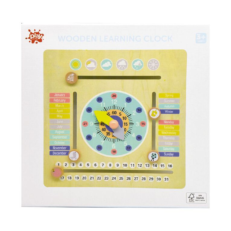 Play Studio Wooden Learning Clock, , hi-res