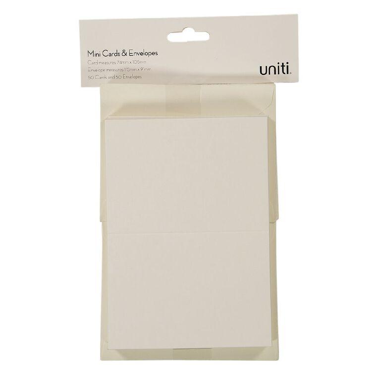 Uniti Mini Cards & Envelopes Ivory 50 Pack, , hi-res