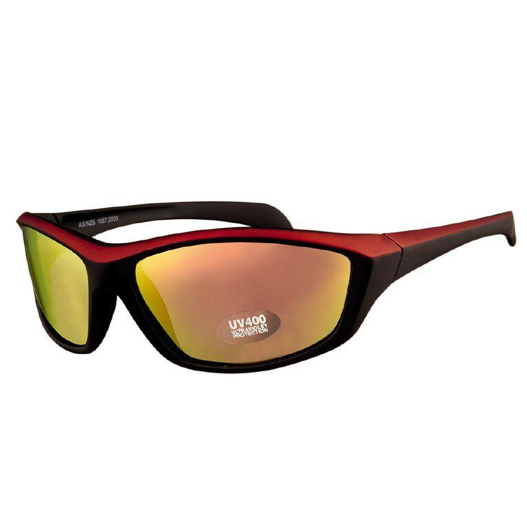 Beach Works Men's Wrap Polarised Sunglasses, Red, hi-res