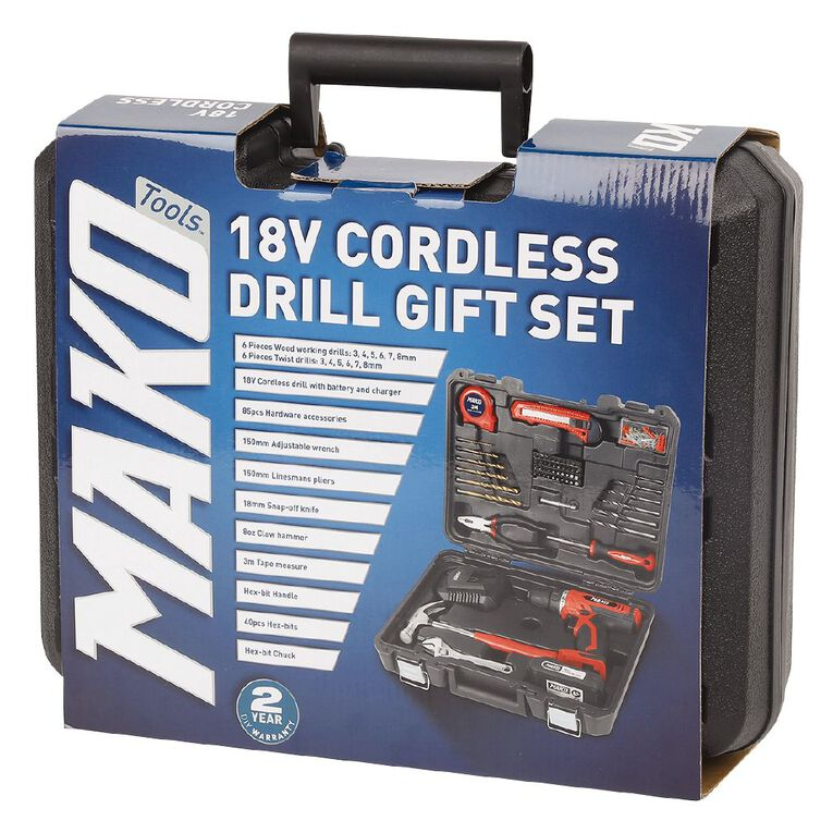 Mako 18v Cordless Drill Gift Set, , hi-res