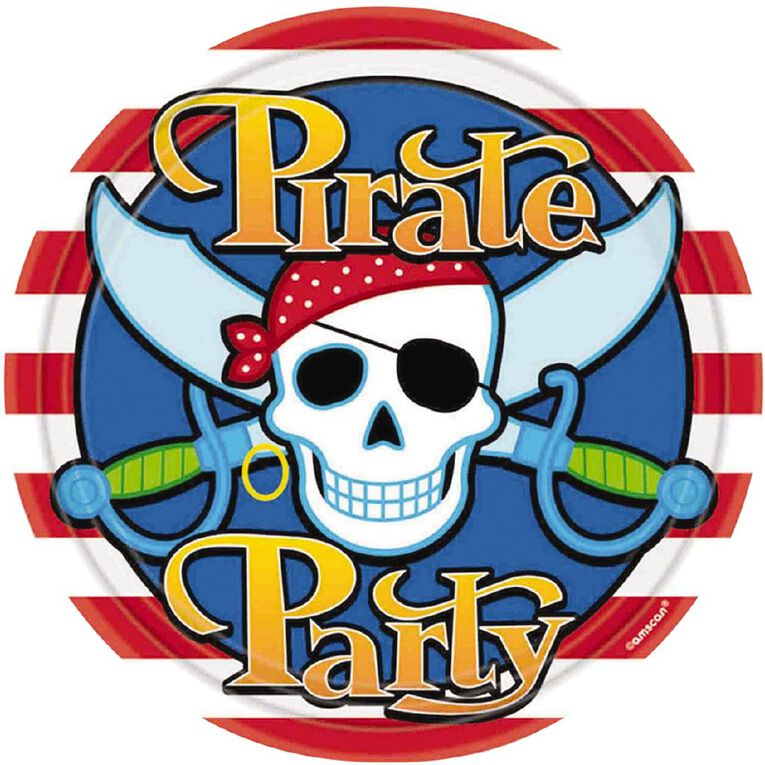Amscan Pirate Party Round Plates 23cm 8 Pack, , hi-res
