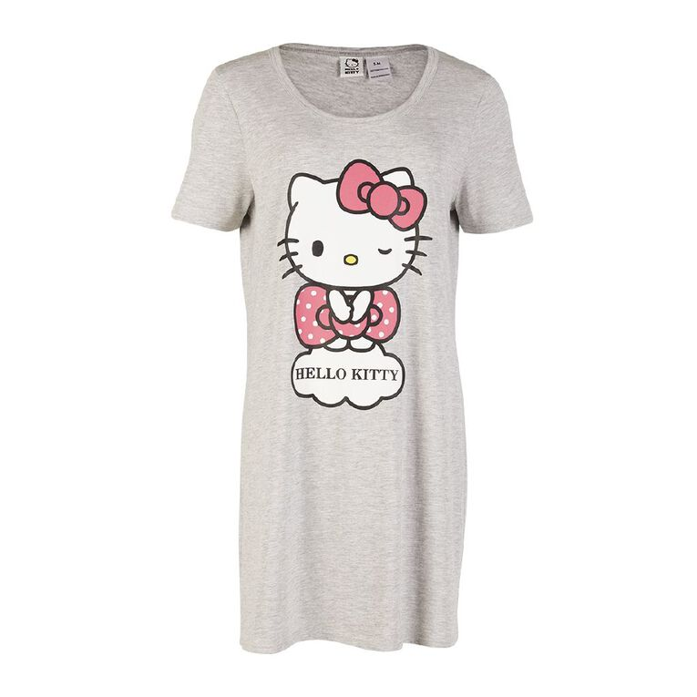 Hello Kitty Women's Short Sleeve Nightie, Grey Marle, hi-res