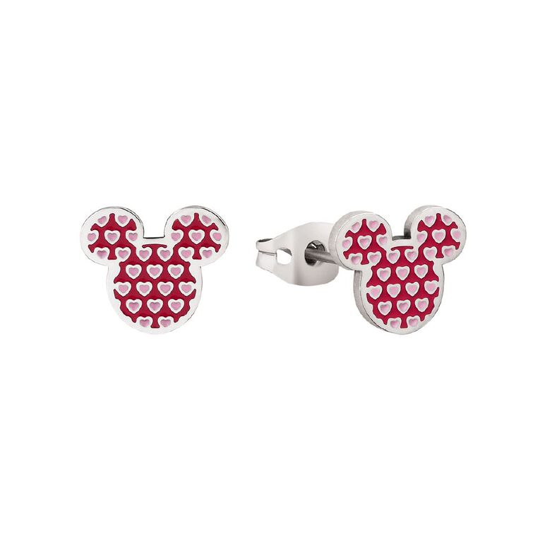 Disney Mickey Mouse Heart Stud Earrings, , hi-res image number null