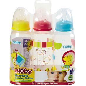 Nuby Standard Neck Non Drip Printed Bottle 240ml 3 Pack