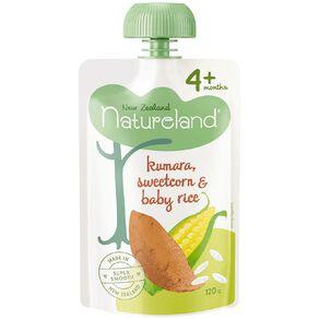 Natureland Kumara Sweetcorn and Baby Rice Pouch 120g
