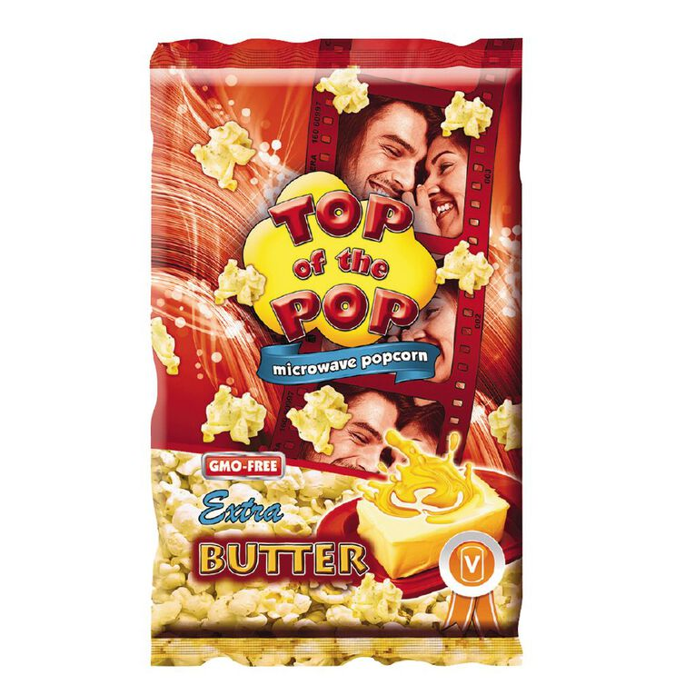 Top of the Pop Microwave Popcorn Extra Butter 100g, , hi-res