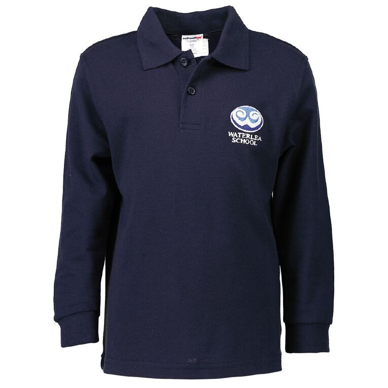 Schooltex Waterlea Primary Long Sleeve Polo with Embroidery, Navy, hi-res