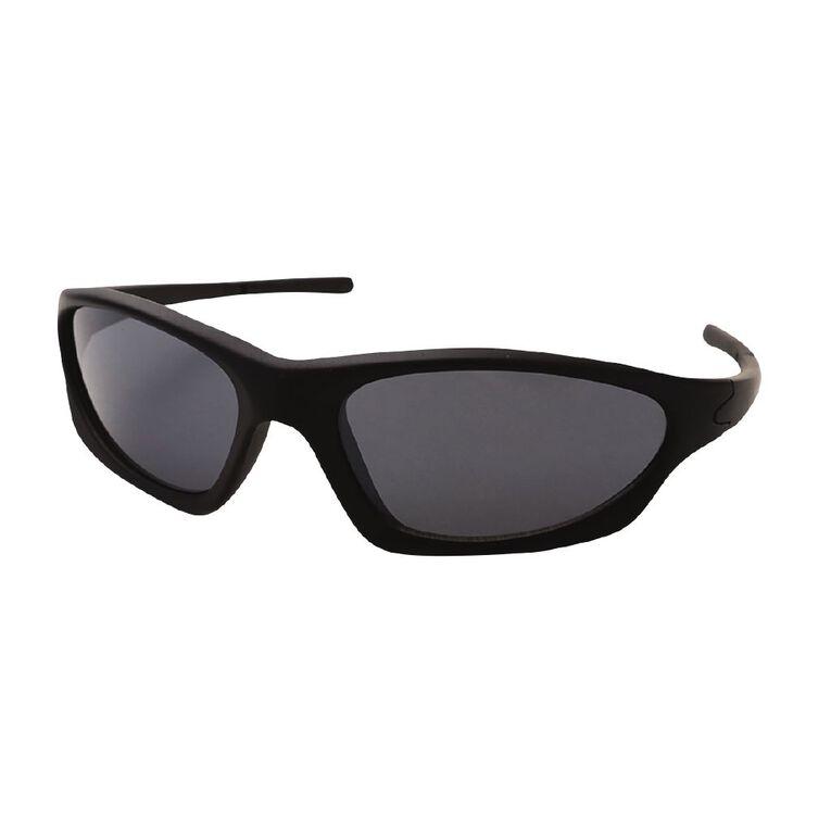 Kids Black Wrap Sunglasses, Black, hi-res