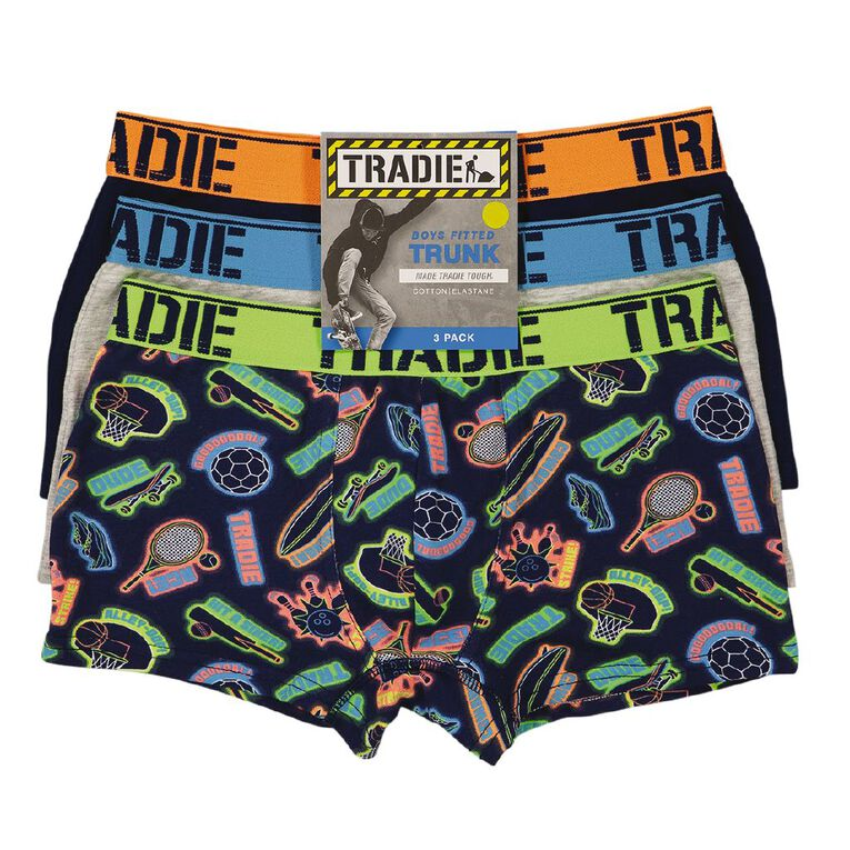 Tradie Boys' Trunks 3 Pack, Green Mid, hi-res
